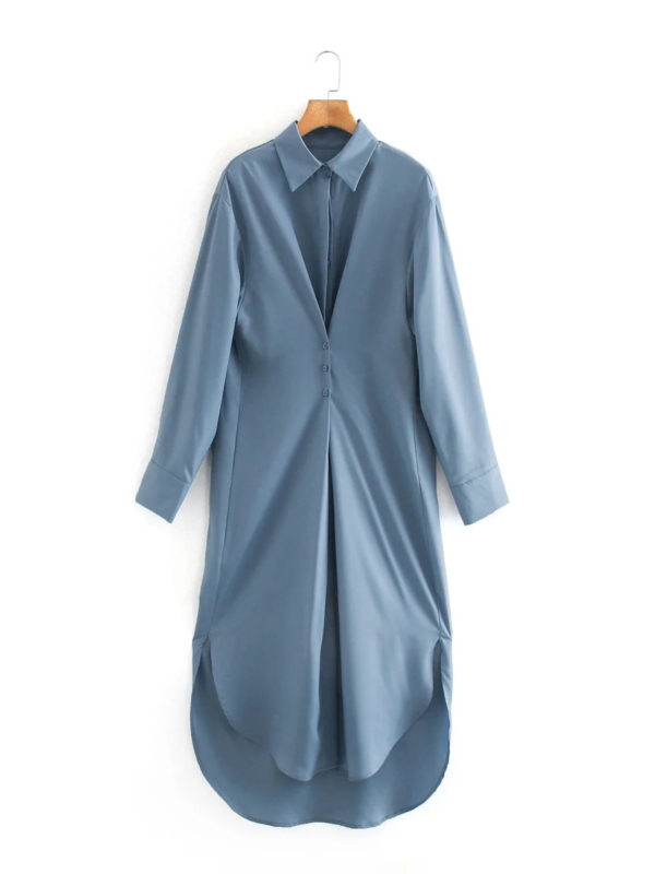 Evening Out Silky Icey Blue Shirt Dress