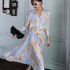 Blossom Silky Blouse and Pleated Skirt Set