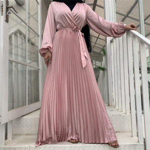 Long Sleeve Pleated Satin Maxi Dress 3 FEATURED PINK