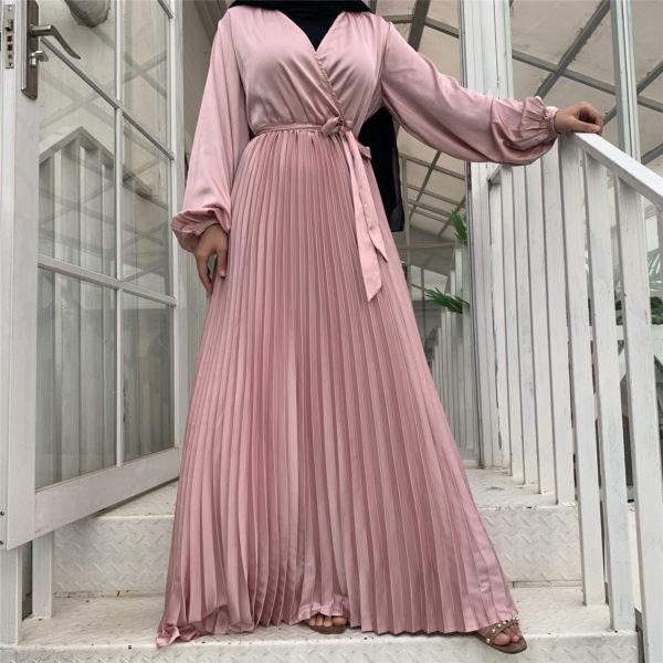Long Sleeve Pleated Satin Maxi Dress