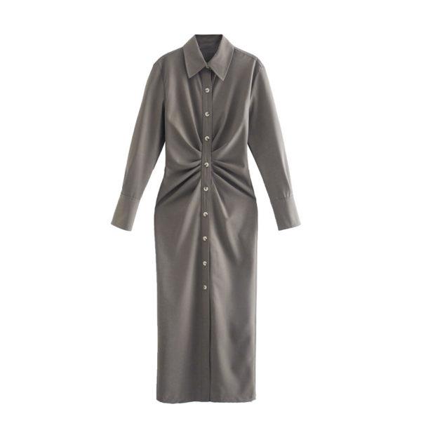 Long Sleeve Gathered Slim Fit Midi Dress