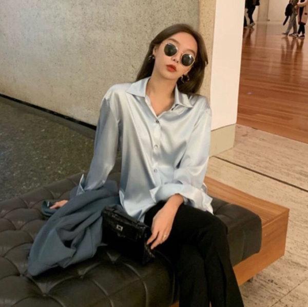 Loose Fit Korean Design Long Sleeve Satin Blouse