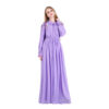 Lavender Floral Embroidery Long Sleeve Gown