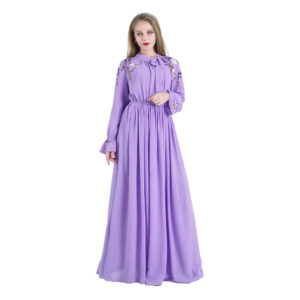 Modest Lavender Floral Embroidery Long Sleeve Gown 9