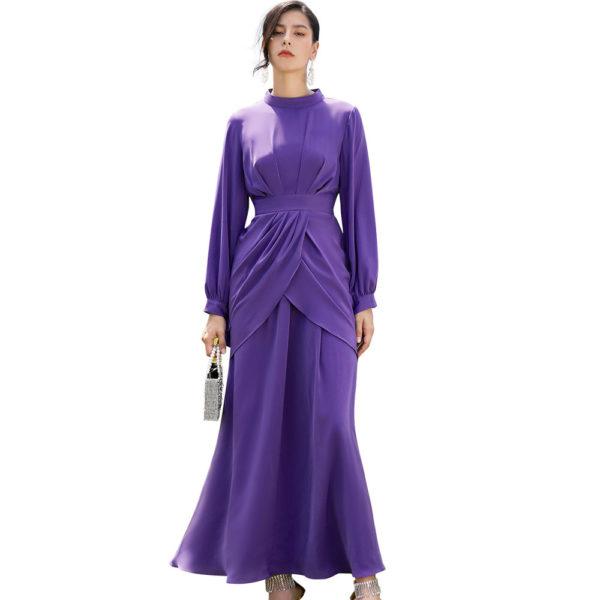 Layered Long Sleeve Maxi Party Dress