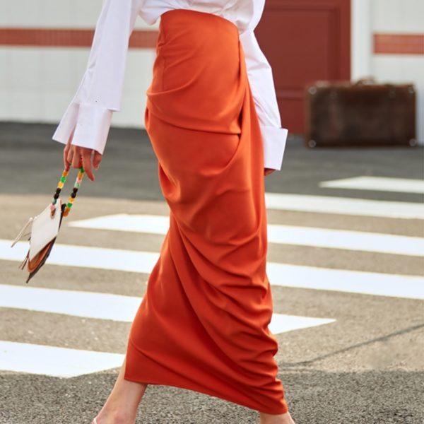 Orange Asymmetrical Maxi Skirt