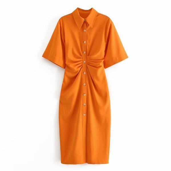 Orange Gathered Half Sleeve Midi Dress