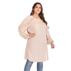 Plus Size Round Neck Long Sleeve Blouse with Ruffles 8 Pink