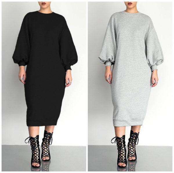 Puff Sleeve Midi Casual Dress