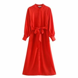 Red Midi Summer Dress 5