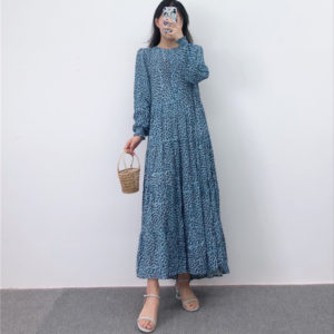 Round Neck Pleated Smock Dress 2