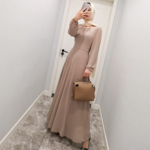 Solid Print Chiffon Long Sleeve Gown 4 Khaki Featured MAIN
