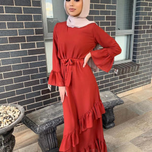 Classic Layered Ruffled Dress 2 Red