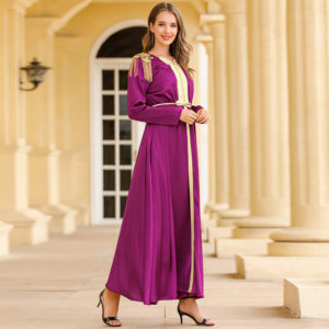Elegant Silky Satin Kaftan Dress featured