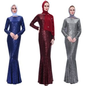 Long Sleeve Fishtail Sequin Maxi Dress featured