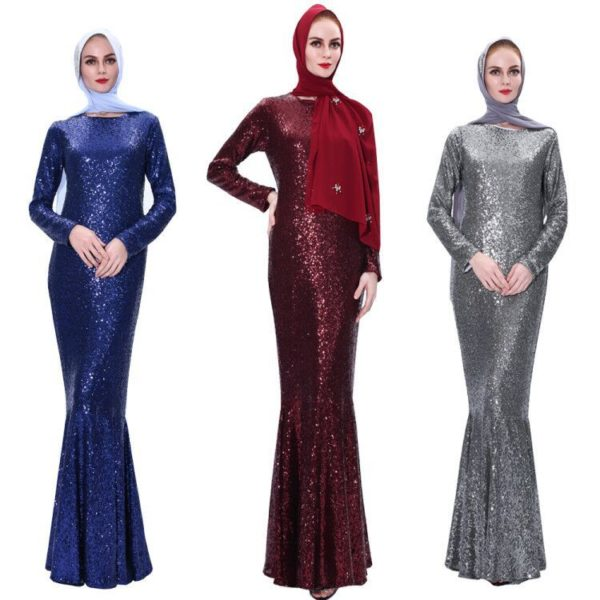 Long Sleeve Fishtail Sequin Maxi Dress