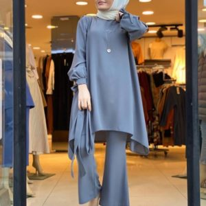 Modest Solid Two Pieace Set with Belt 4 Grey