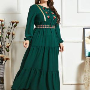 Plus Size Multi Layered A Line Green Dress 3