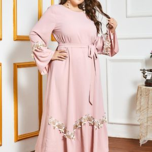 Plus Size Pink A Line Maxi Dress 3