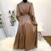 V-Neck Satin Wrap Maxi Dress