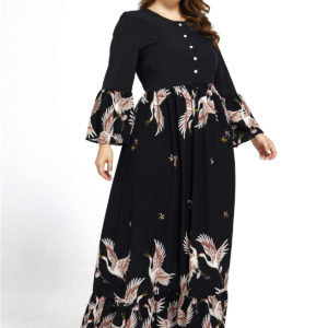 Black Printed Long Sleeve Plus Size Maxi Dress 1 Main