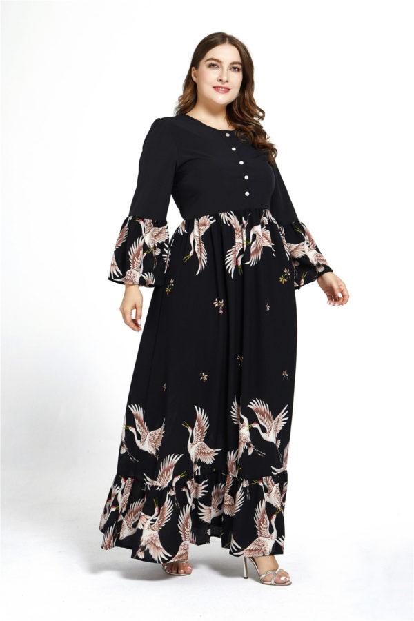 Plus Size Crane Print Maxi Dress