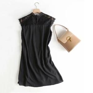 Black chiffon lace short sleeve top 3