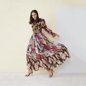 Floral Print Cinched Waist Maxi Dress 2