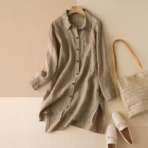 Long Sleeve Linen Blouse 3 Khaki Main