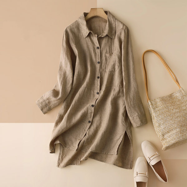 Long Sleeve Linen Collared Blouse