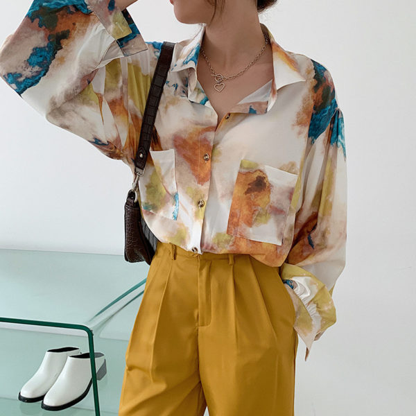 Relaxed Watercolor Print Blouse