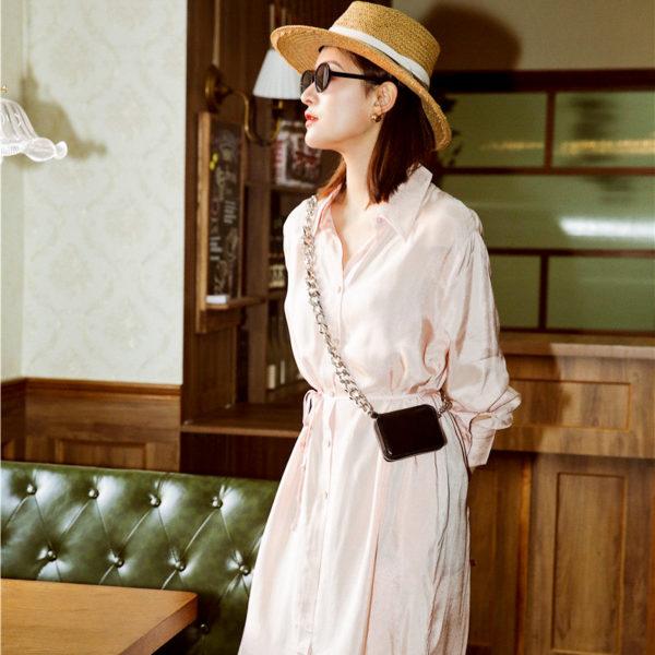 Pale Pink Silky Shirt Dress