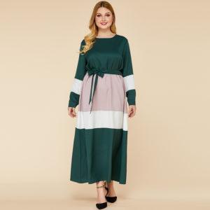 Plus Size Color Block A Line Maxi Dress 4