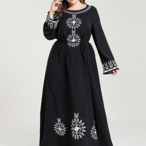 Plus Size Long Sleeve A line Embroidered dress 1