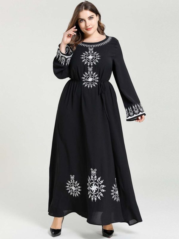 Plus Size Embroidered A-Line Maxi Dress