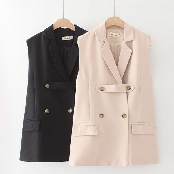 Plus Size Sleeveless Blazer Vest