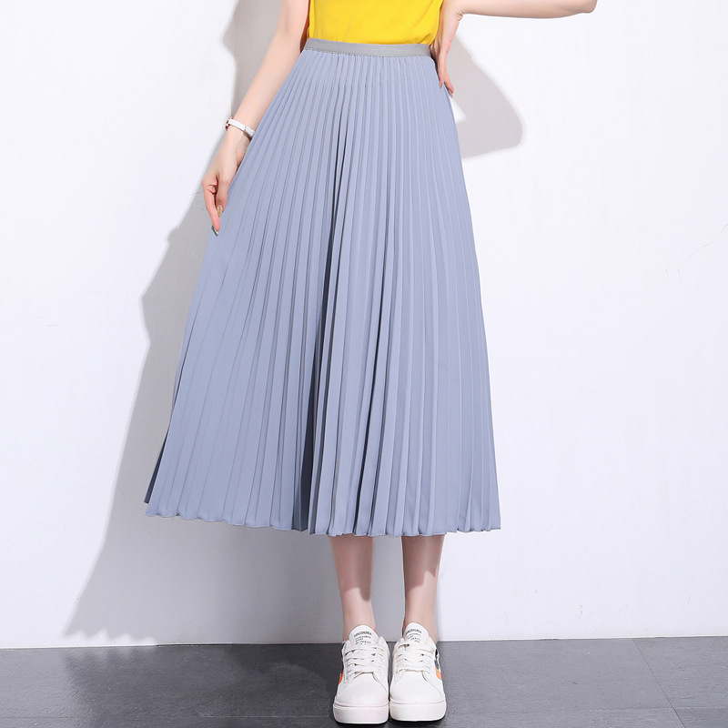 Solid Pleated Ankle Length Skirt Light Gray blue