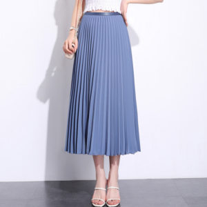 Solid Pleated Ankle Length Skirt Navy Blue Gray blue