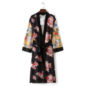 Spring Floral Kimono Cardigan with Belt 1