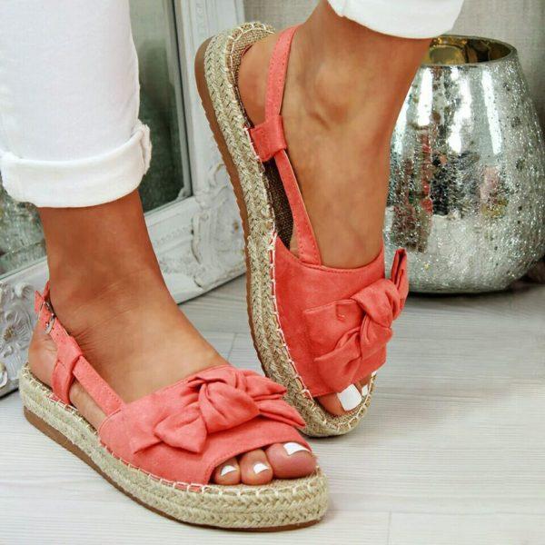 Woven Platform Bow Sandals