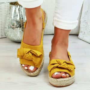 Woven Platform Sandals with Bow 4 Yellow