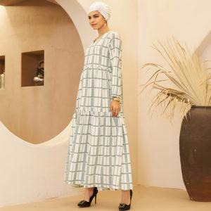Arabic Print V Neck Dress 2 Main