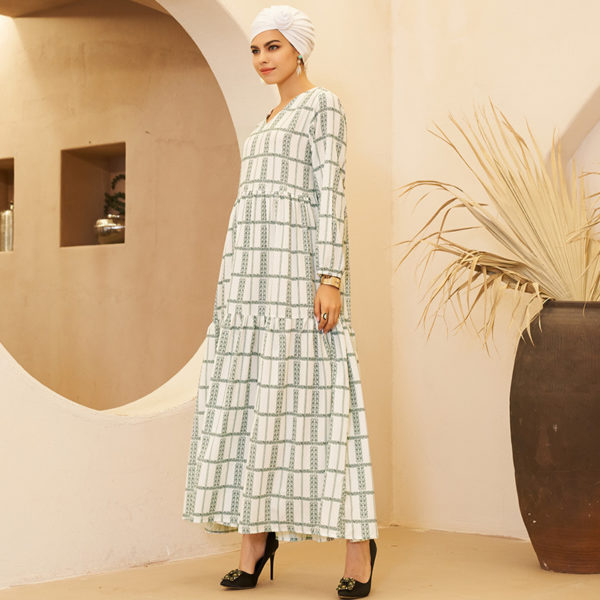 Arabic Print V-Neck Dress