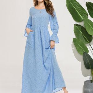 Blue A Line Maxi Dress with Pockets 2