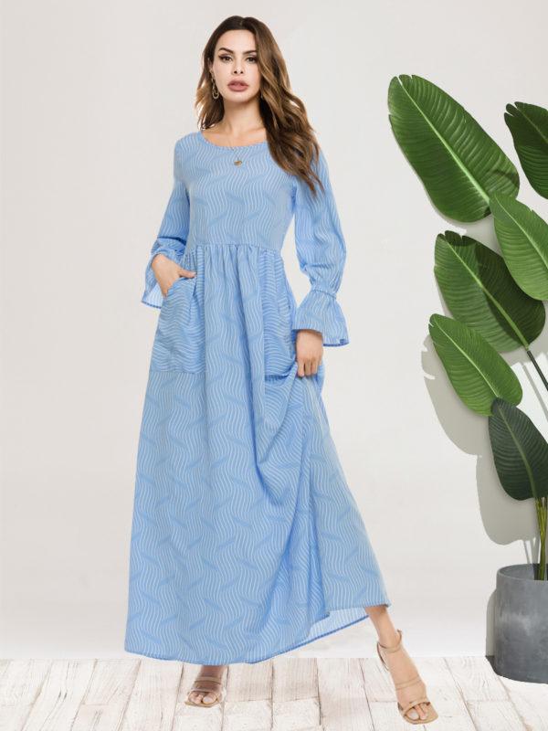 Blue Wave A-Line Maxi Dress
