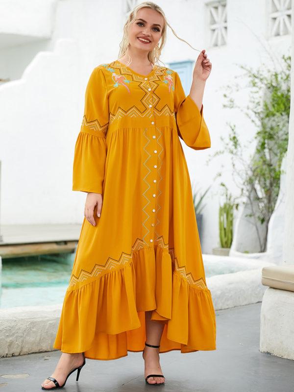 Boho Button Front Swing Dress
