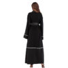 Contrast Stitched Open Front Abaya