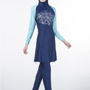 Color Block Modest Burkini Swimsuit 2 Blue
