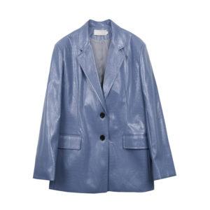 Faux Crocodile Leather Blazer 5 Blue Grey main