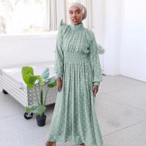 High Neck Polka Dot Maxi Dress 4 Main green